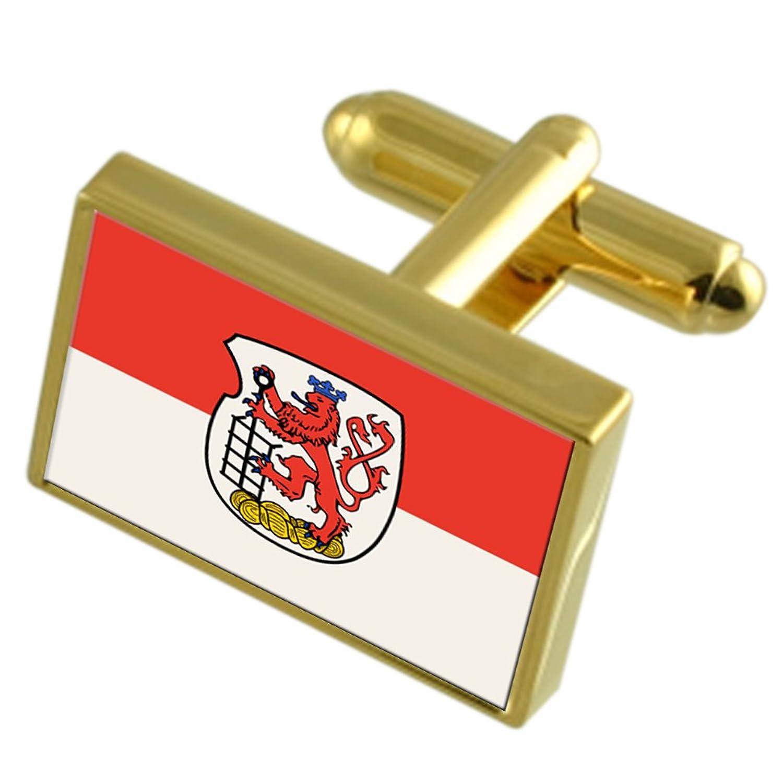 La ciudad de Wuppertal Alemania Oro Gemelos de bandera cuadro grabado
