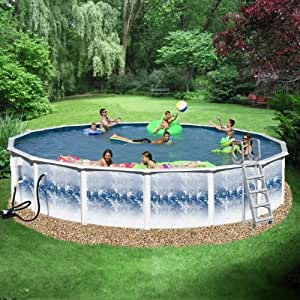Heritage round 18 39 x 52 deep gold above ground pool package toys games for Heritage above ground swimming pools