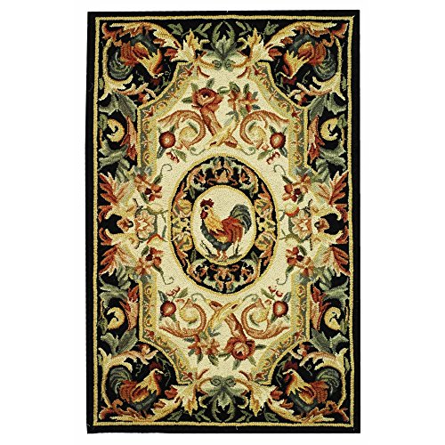 - Safavieh Chelsea Collection HK48K Hand-Hooked Ivory and Black Premium Wool Area Rug (2'6