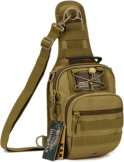 Mens Molle Tactical Sling Chest Bag Messenger Shoulder Bag Backpack Assault Pack