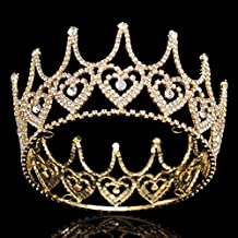 Stuffwholesale Crystal Heart King Crown Gold Tiara Hair Accessories (Gold)