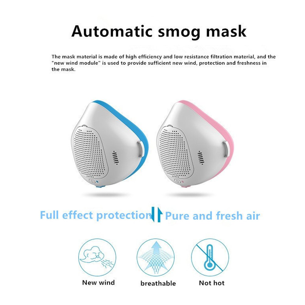automatic smog masks, Kiamitor Phone APP Anti-Dust Air Mask Filter Smart Purification Mask, Outdoor Sports, Running, Smoke, Pollen, Paint, Spray, Safety Filter and Automatic Air Supply (blue)
