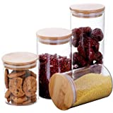 Domire Food Storage Jars & Canisters Glass Jars with Bamboo Lids Glass Cylinder Airtight Kitchen Container Canister Jar,Set o