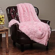 """Chanasya Super Soft Long Shaggy Chic Fuzzy Fur Faux Fur Warm Elegant Cozy With Fluffy Sherpa Pink Microfiber Throw Blanket (50"""" x 65"""") - Solid Shaggy Pink"""