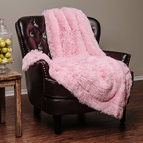 """Price comparison product image Chanasya Super Soft Long Shaggy Chic Fuzzy Fur Faux Fur Warm Elegant Cozy With Fluffy Sherpa Pink Microfiber Throw Blanket (50"""" x 65"""") - Solid Shaggy Pink"""