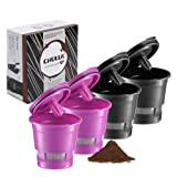 CHULUX 4-Pack Reusable Mesh Coffee Filter for Single Cup Coffee Maker,Universal Refillable Ground Coffee Cup