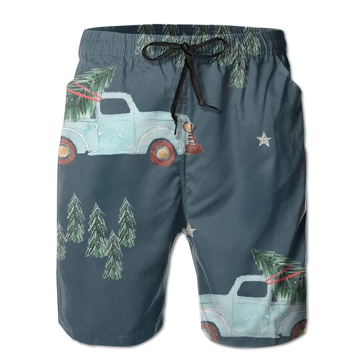Cheap Family Fun Holidays Christmas Tree Men's Board Shorts Swim Trunks Beachwear Summer Surf Printed Casual Water Shorts hot sale
