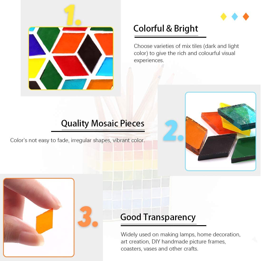 Flowerpots Handmade Jewelry and More Plates Picture Frames Hilitchi 1lb Assorted Stained Glass Mosaic Tile Mixed Shapes and Colors Glass Pieces for DIY Crafts Mix Shape