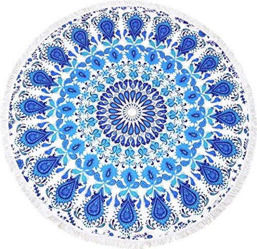 Microfiber Round Beach Towel Blanket-2019 New Oversized Thick High Colour Fastness Super Water Absorbent Large Beach Towels 62 Inches Great Gift Idea Blue Mandala (Best Quality Bath Towels 2019)
