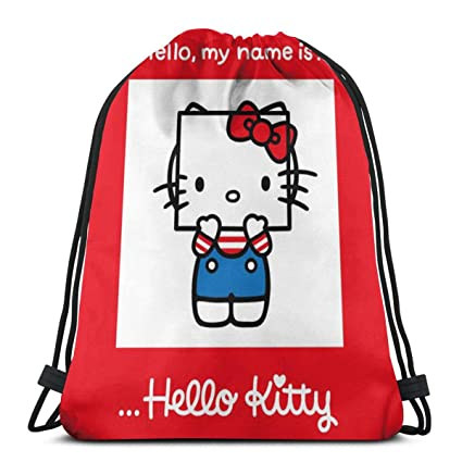 9dacac41f Image Unavailable. Image not available for. Color: MPJTJGWZ Classic  Drawstring Bag-It's Hello Kitty Gym Backpack Shoulder Bags Sport Storage ...