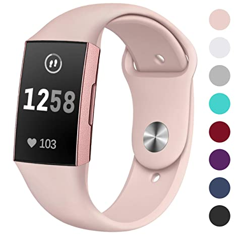 HUMENN Compatible avec Fitbit Charge 3 Bracelet, Réglables Replacement Doux Silicone Sport Bande pour Fitbit Charge 3, Petit Grand