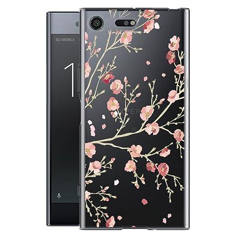 Sony Xperia XZ Premium Carcasa , YIGA Moda Flores De Color Rosa Transparente TPU Gel Cubierta De Silicona Suave Funda Tapa Case Cover para Sony Xperia ...