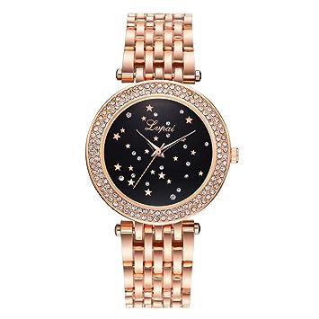 W Z Reloj Reloj Estrellado Reloj de Pulsera de Cuarzo de Las Mujeres con  Dial Redondo con 88ddac70a0f5