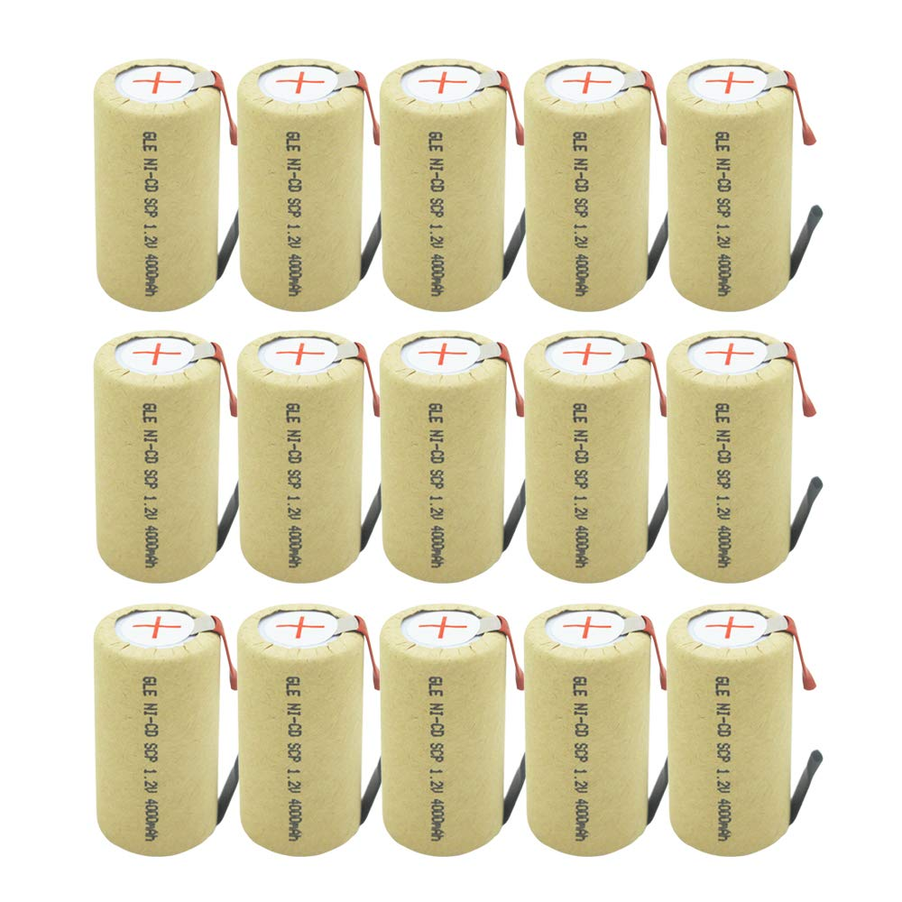 15Pcs SubC Sub C Battery with Tabs NiCd Rechargeable 3400mAh 1.2V for Power Tool with Solder Tabs by GEILIENERGY