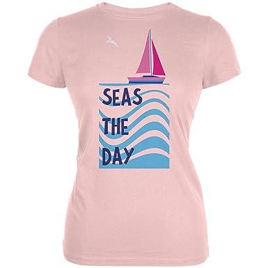 0e20ce98fb58 Summer Sun Seas Seize The Day Sailboat Juniors Soft T Shirt at Amazon Women's  Clothing store: