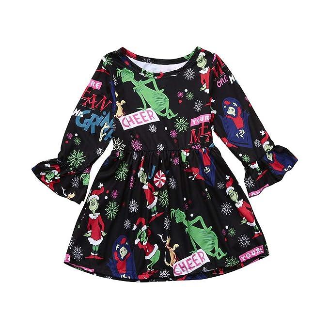 Kobay Babykleid Festlich Kids Baby Girl Cartoon Gestreifte Prinzessin Sweatshirt Kleid Kleidung Outfits