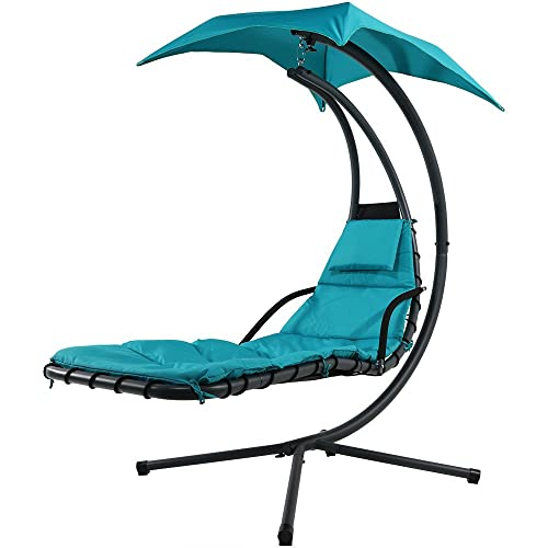 Sunnydaze Teal Floating Chaise Lounger Swing Chair