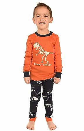 Kids Long Sleeve Pajama Sets (2T, Bone Tired Dinosaur Boys PJ Set)