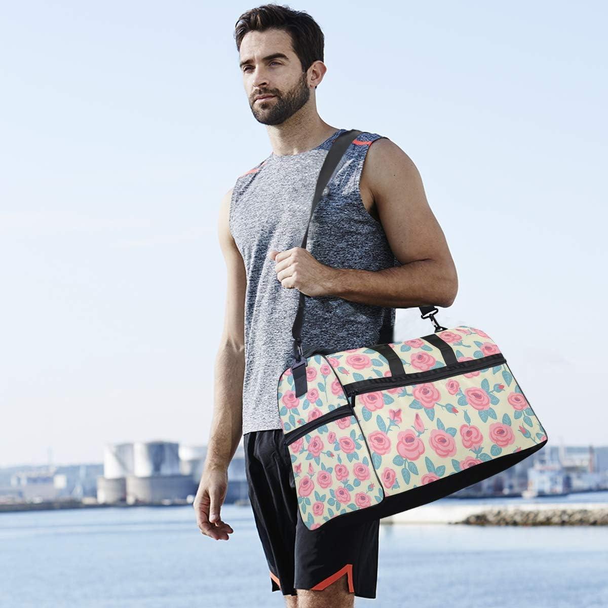Travel Duffels Beautiful Rose Design Duffle Bag Luggage Sports Gym for Women /& Men