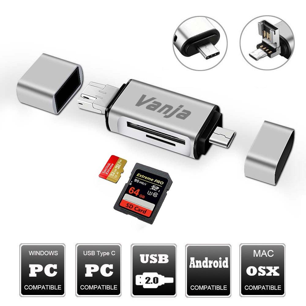 Vanja SD/Micro SD Card Reader, USB Type C Micro USB OTG Adapter and USB 2.0 Portable Memory Card Reader for SDXC, SDHC, SD, MMC, RS-MMC, Micro SDXC, Micro SD, Micro SDHC Card and UHS-I Cards