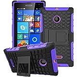 Heartly Flip Kick Stand Spider Hard Dual Rugged Armor Hybrid Bumper Back Case Cover For Microsoft Lumia 532 Dual SIM - Frame Purple