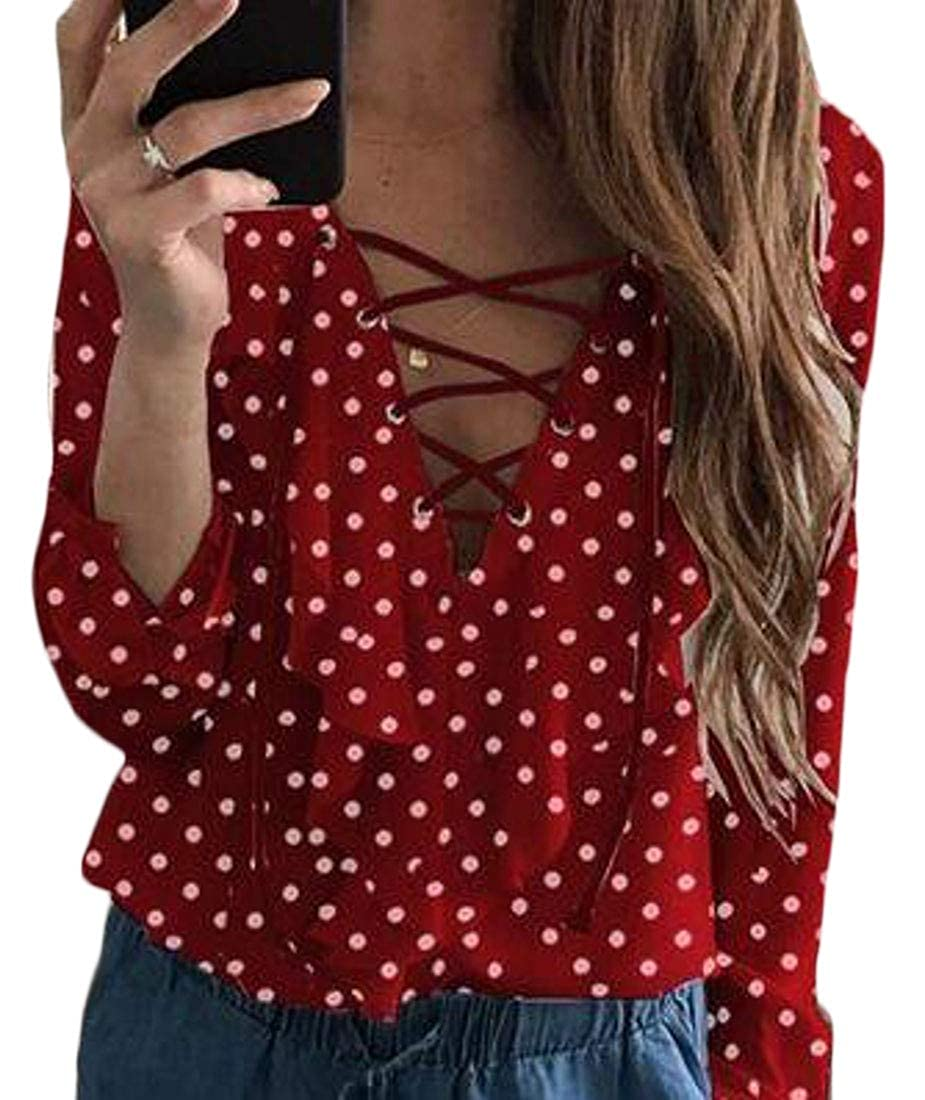 7c9bc56ce145 MOUTEN Women's Lace Up Bandage V Neck Polka Dot Print Long Sleeve Ruffle  Solid Color Chiffon Blouse Shirt Top at Amazon Women's Clothing store: