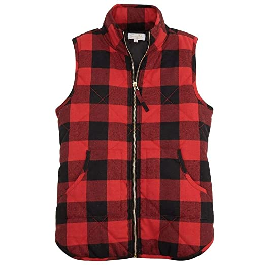 4236f91e046 Mud Pie Red Buffalo Check Brodie Vest at Amazon Women s Coats Shop