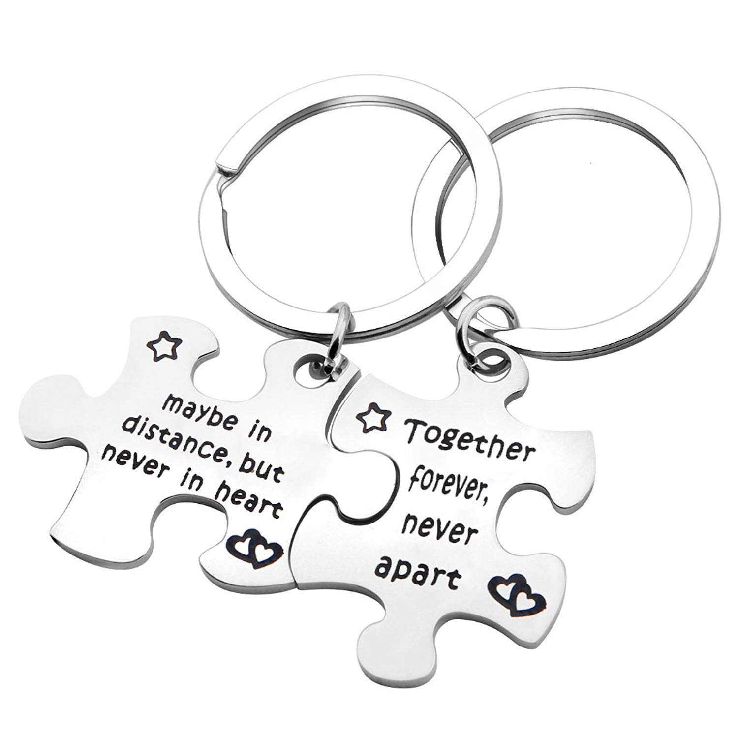 MYOSPARK Cpuple's Keychain Set of Two Long Distance Relationship Gift Puzzle Piece Keychain Set (Never Apart Keychain)