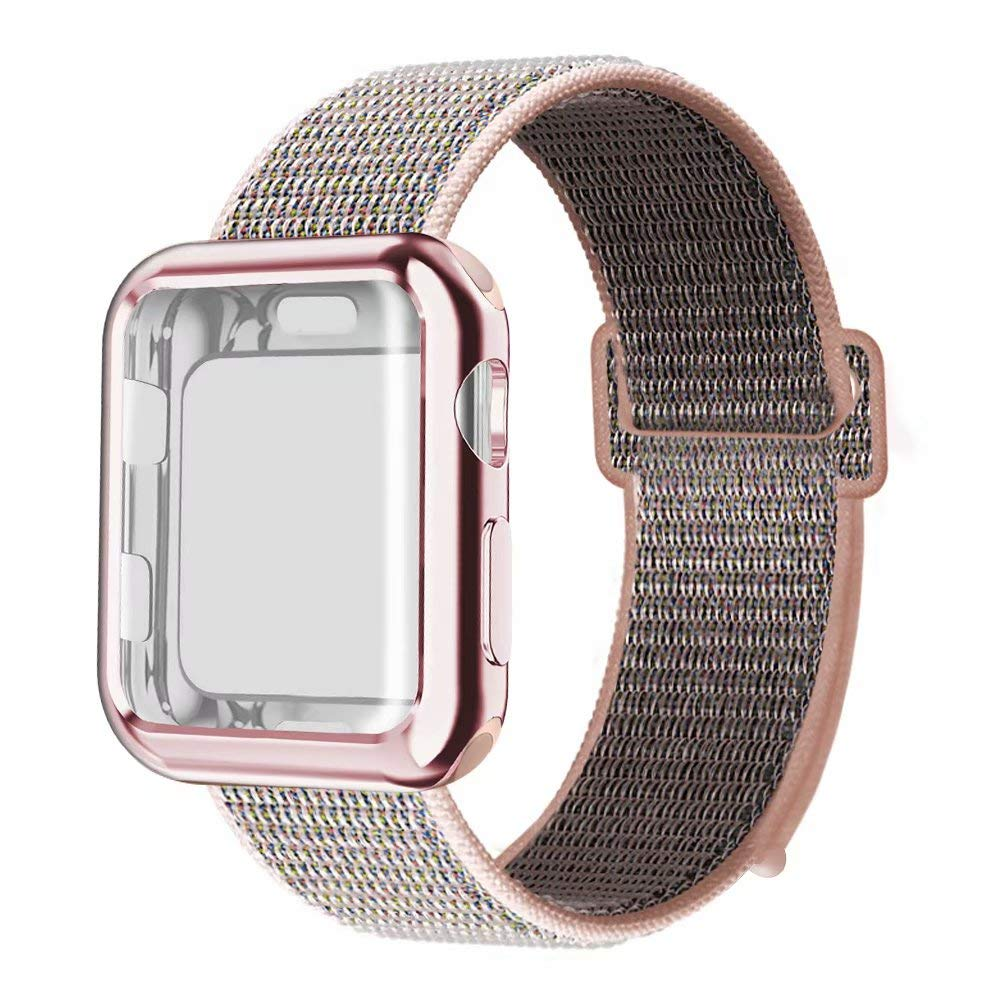 QIENGO Compatible with Apple Watch Band with Case 38MM, Soft Nylon Strap with Silicone Screen Protector Replacement for iWatch Sport Series 3/2 / 1 (Pinksand, 38mm) by QIENGO (Image #1)