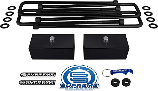 Rear Leveling Kit for 2005-2020 Toyota Tacoma 1.5 Rear Suspension Lift Blocks Square Bend U-Bolts 2WD 4WD Supreme Suspensions