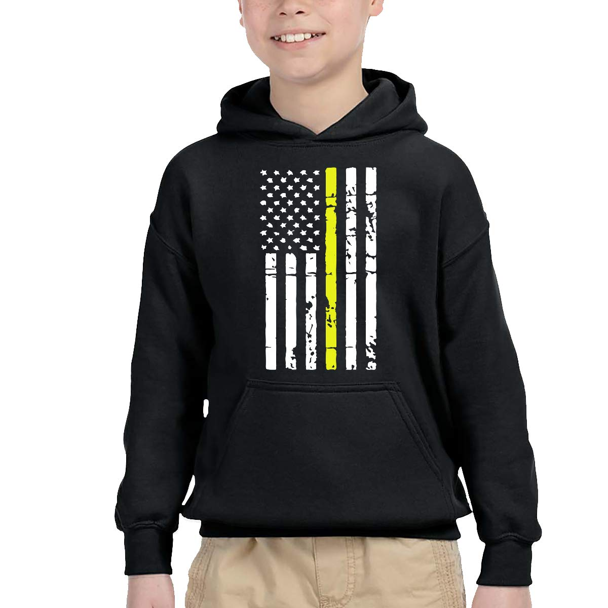 YTH/&123 Unisex Kids Children Pullover Hoodie Fleece Dispatcher Thin Gold Line Flag Hoody