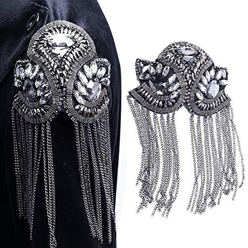 - 1pair Beaded Rhinestones Blazer Epaulet Kpop Fringe Tassel Metal Shoulder Epaulette Spikes Brooch Women Men Suit Accessories