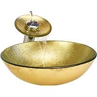 HomeLava Lavabo Vasque en Verre Trempé, avec Robinet Cascade à poser la salle de bain,garantie de 2ans