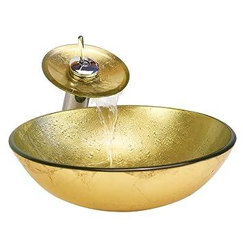 HomeLava Lavabo Vasque en Verre Trempé Or, avec Robinet Cascade à poser la  salle de bain