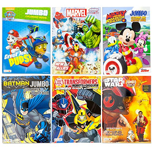 Kids Coloring & Activity Books Featuring Paw Patrol Marvel Avenger Hulk Wolverine Iron Man Spider-Man Captain America Mickey Minnie Mouse Transformers Batman Star Wars | 6 Books Educational Gift Set