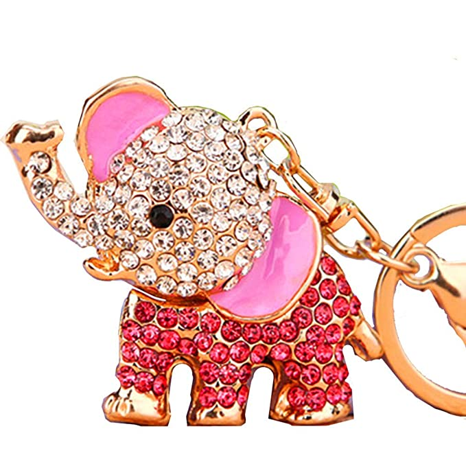 Amazon.com: Cute Big Ears elefante llavero brillante bolso ...