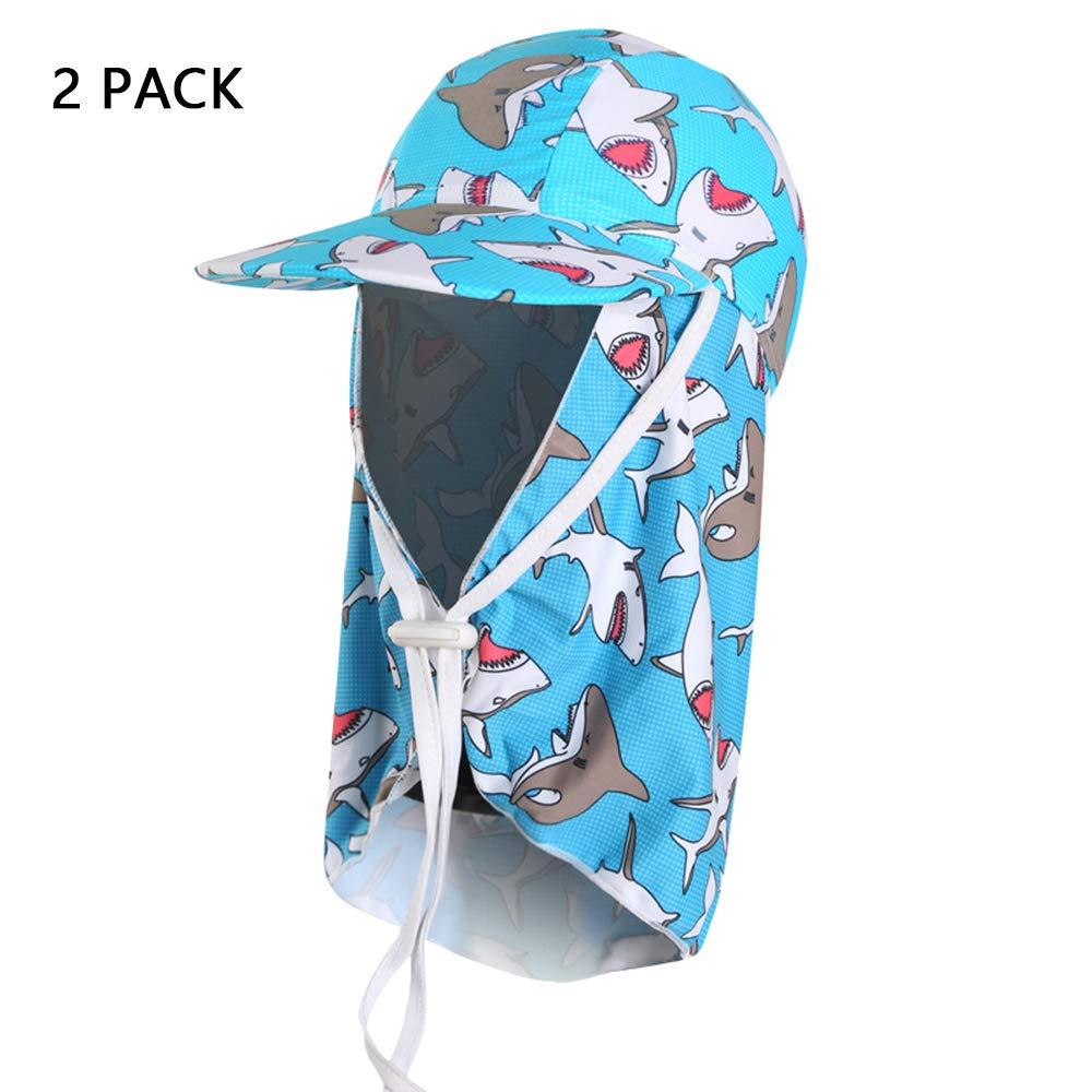 G  MIMI KING Les Enfants visière Casquette de Bain UV Prougeection Contre Le Soleil Enfants Flap Cap Plage Chapeau pour la Plage en Plein air Camping randonnée Voyage