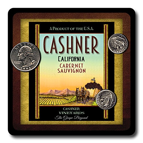Cashner Family Vineyards Neoprene Rubber Wine Coasters - 4 Pack