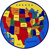 CR Kids / Baby Room / Daycare / Classroom / Playroom Area Rug. Educational. Fun. USA Map. Fifty States. Oceans. North America. Non-Slip Gel Back. (8 Feet X 8 Feet Round)