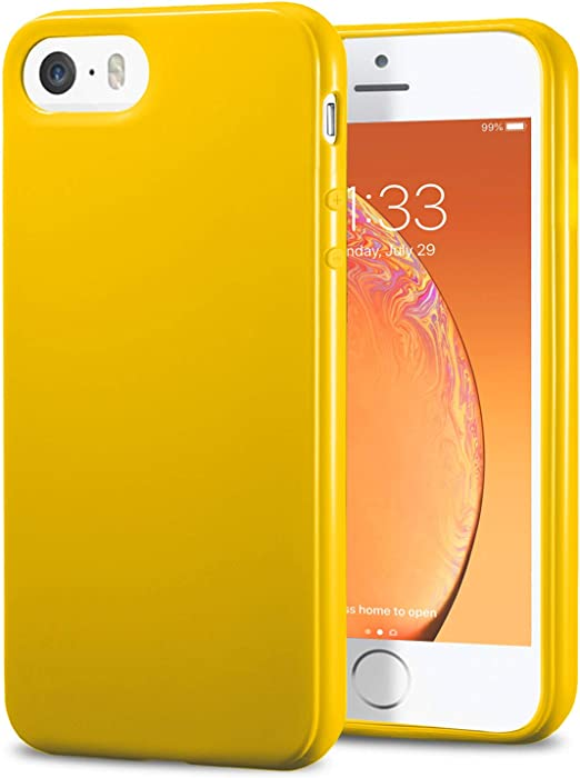 TENOC Phone Case Compatible for Apple iPhone SE 2016/ iPhone 5S/ iPhone 5, Slim Fit Cases Soft TPU Bumper Protective Cover, Glossy Yellow