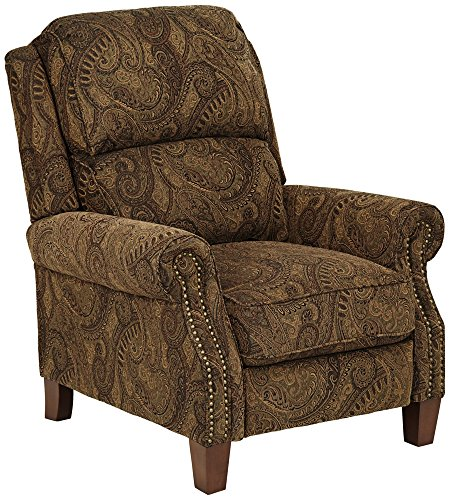 Beaumont Warm Brown Paisley Push-Thru Arm 3-Way Recliner