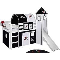 Lit de Jeu Jelle Pirate Noir Blanc–Lit Mezzanine Lilo Kids–Blanc–90x 190cm avec Tour, Toboggan et Rideau