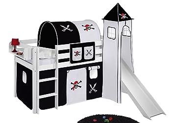Lilokids-speelbed Jelle 90 x 190 cm piraat zwart en wit - hoogslaper ...
