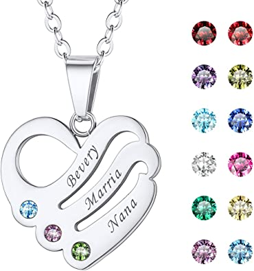 birthday gift for mom custom name necklace with birthstones jewelry for grandma Christmas gift for mom Mother necklace personalize