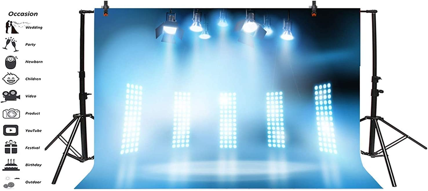 10x7ft Bright Hazy Blue Stage Backdrop Vinyl Bright Spotlights Shiny Blue Floodlights Smooth Floor Photo Background Performance Live Show TV Programming Banner Singer Shoot Studio Props