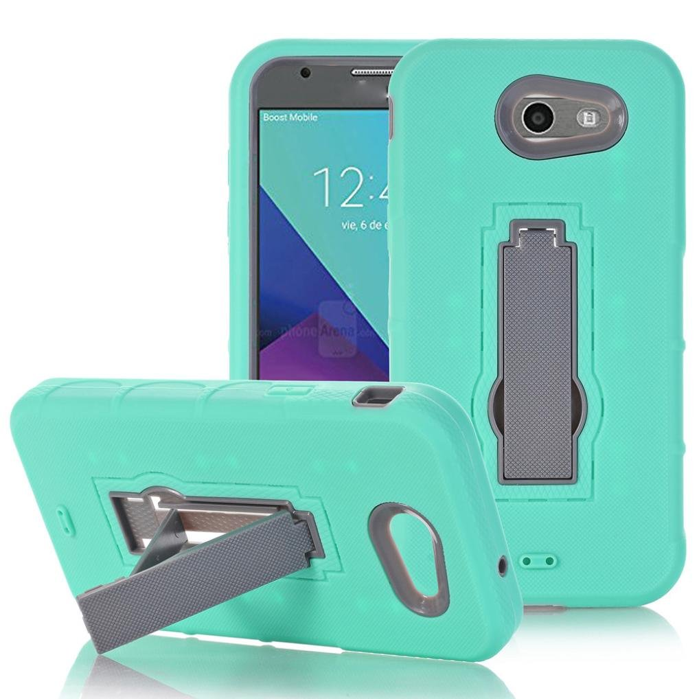 Sikye Ultra Protective Defender Case Heavy Duty 3 in 1 Shockproof Silicone Hybrid Kickstand Cover for Samsung Galaxy J7 2017 (Mint Green)