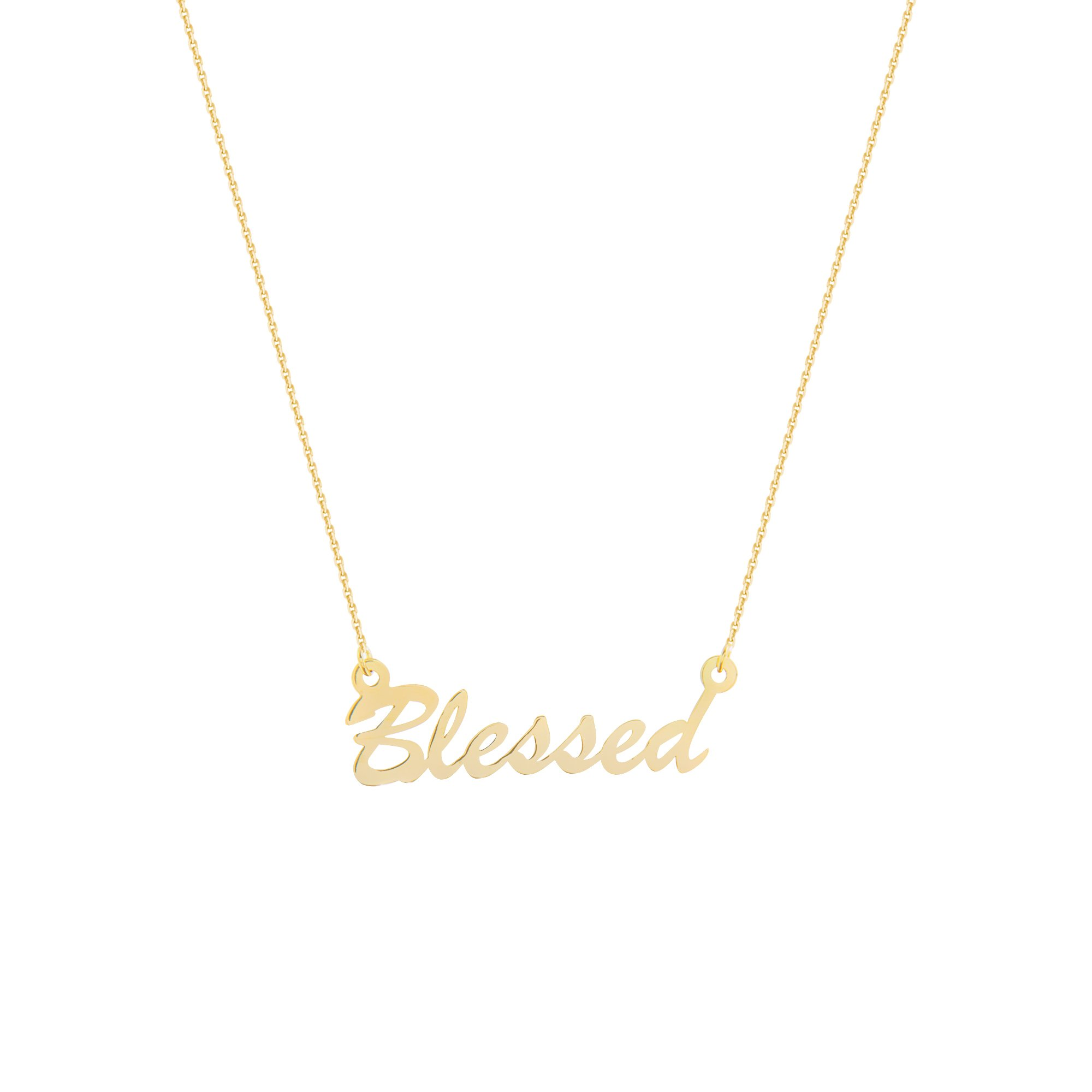 BLESSED NECKLACE, 14KT GOLD BLESSED NECKLACE 18'' INCHES by DiamondJewelryNY