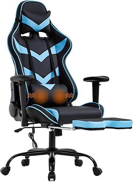 Brown Home Office Chair Ergonomic Desk Chair Computer Chair with Lumbar Support Armrest Foot Rest Rolling Swivel High Back PU Leather Recliner Task Chair for Men