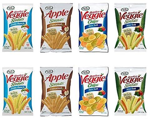 Sensible Portions Garden Straws & Chips Variety Pack- Ranch, Sea Salt & Apple Cinnamon Non GMO, Certified Kosher, Vegan - Contains (8) 1oz Bags