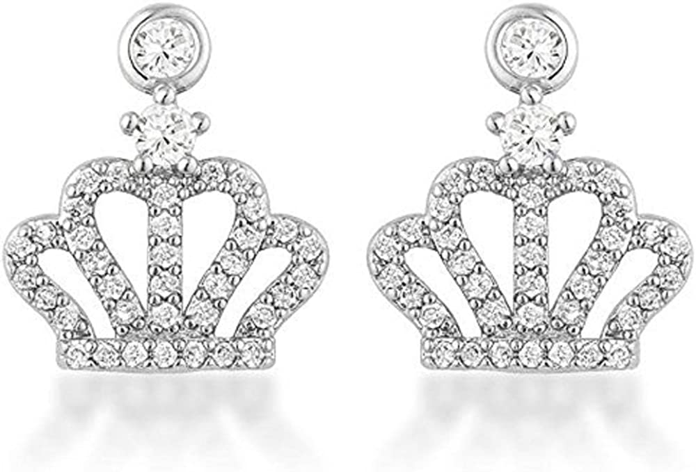 Freedom Fashion 0.5 Ct Rhodium Plated Crown CZ Earrings